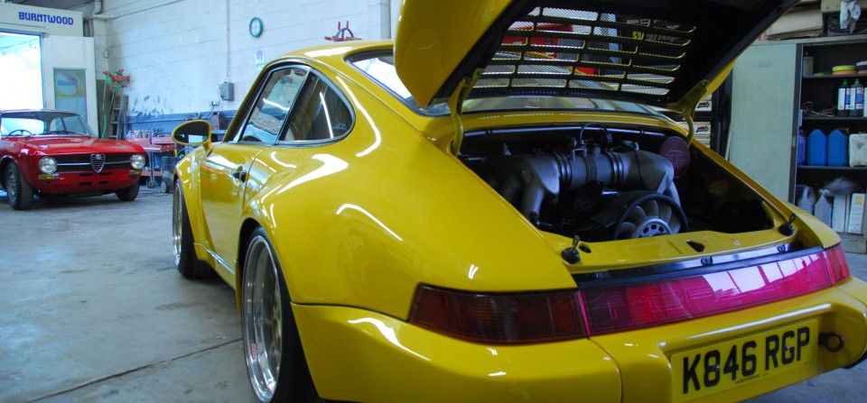 Porsche 964 RSR in workshop following a restoration to its former glory.